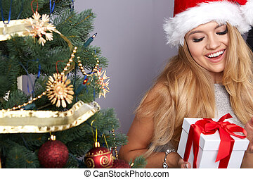 christmas, x-mas, winter, happiness concept, smiling woman...