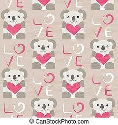 Koala with heart seamless pattern