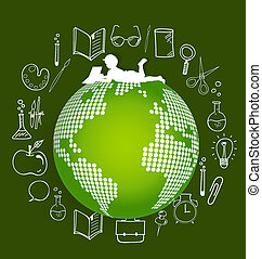 Children read a book on modern globe with application icon,...