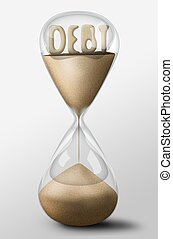 Hourglass with Debt made of sand. Concept of spending money