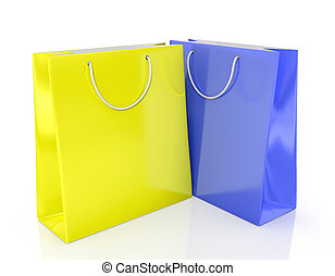 Two paper shopping bags yellow and blue on a white...