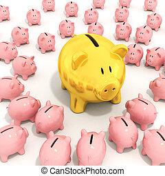 Bigger golden piggy bank
