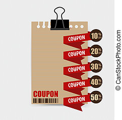 Sale Coupon, voucher, tag Vintage Style template Design