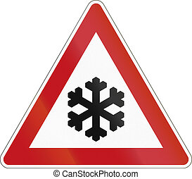 A road warning sign in Germany: Ice