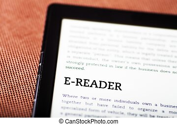 E-reader on ebook, tablet concept - E-reader on ebook,...