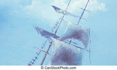 Sailboat on canvas - Painted on canvas oil painting sailing...