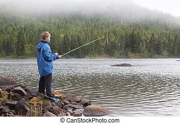 adolescente, niño, pesca, en, lake.,
