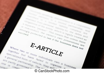 E-article on ebook, tablet concept - E-article on ebook,...