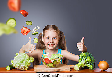 Beautiful girl with fresh vegetables
