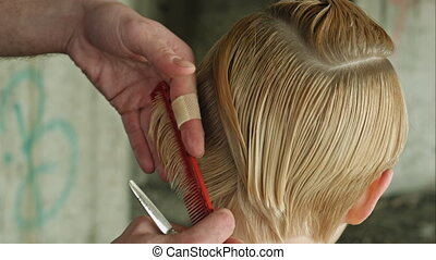 Beautyful Girl getting haircut Conceptual - Woman getting a...