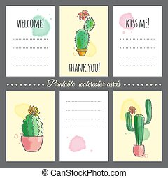 Cacti with watercolor effect - Cards to print with images of...