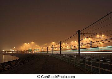 railway at night in Hong Kong