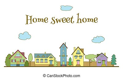 Home sweet home. Hand-painted multi-colored houses and trees...