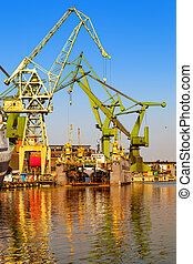 On dry dock - Ship on dry dock during construction in...