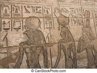 Egyptian hieroglyphic carvings on wall - Ancient Egyptian...