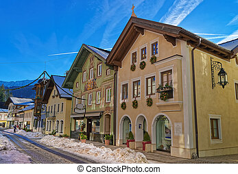 Charming houses in Bavarian Village Garmisch-Partenkirchen...