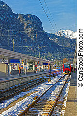 View of the railway station in Garmisch-Partenkirchen on a...