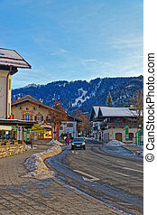 View of the street in Garmisch-Partenkirchen, an idyllic...