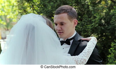 newly married couple in the park HD