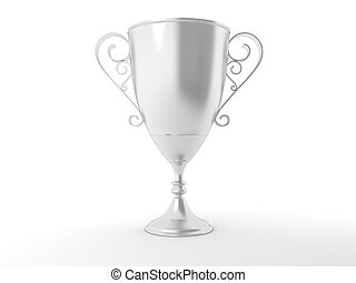Silver trophy cup on white background. High resolution 3D image