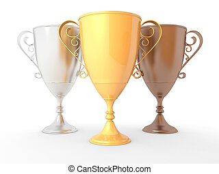 Isolated gold, silver and bronze winners trophy