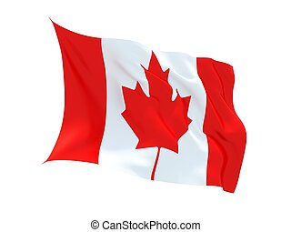 Fluttering 3d Canadian flag isolated on white