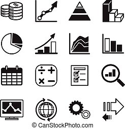Simple set of diagram and graphs related vector icons set