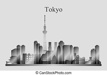 Tokyo city skyline silhouette in grayscale