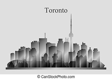 Toronto city skyline silhouette in grayscale