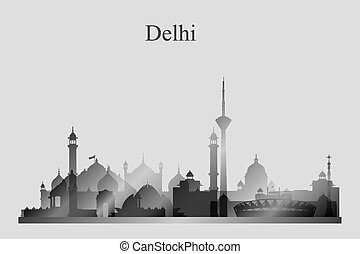 Delhi city skyline silhouette in grayscale, vector...