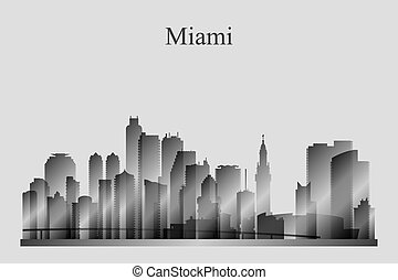 Miami city skyline silhouette in grayscale