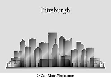 Pittsburgh city skyline silhouette in grayscale, vector...