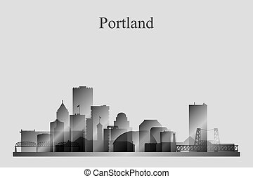 Portland city skyline silhouette in grayscale, vector...