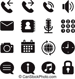 Silhouette mobile phone & smartphone application icons set