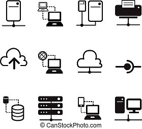 Data sharing, Server, Cloud  Network System icons silhouette