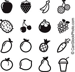 Fruit icons Vector symbol illustration