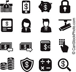 silhouette Money, finance, banking, Investment Internet banking icons vector set