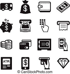 Money, finance, banking credit card icons vector set...