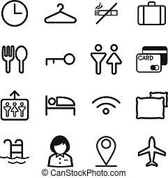 Hotel, hostel, motel icons Illustration vector Symbol
