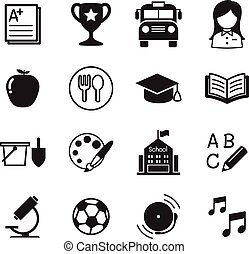 Kindergarten school education icons Vector Illustration Symbol