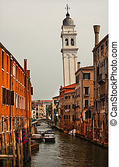 Side Canal Church Bridges Venice Italy