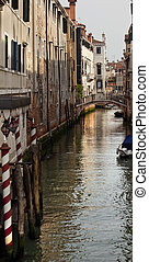Side Canal Poles Bridges Venice Italy