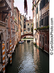 Small Side Canal Yellow Poles Bridge Venice Italy