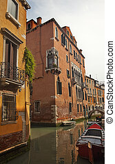 Small Side Canal Bridges Venice Italy