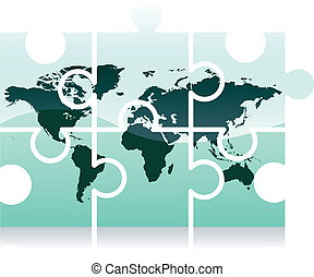 World map puzzle icon - Shiny jigsaw world map puzzle icon,...