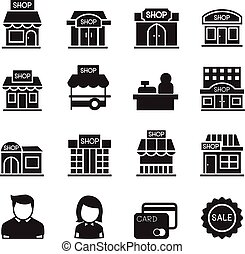 silhouette Shop building icons - silhouette Shop building...