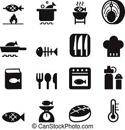 Fish cooking icon set