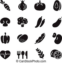 silhouette Vegetable icons set
