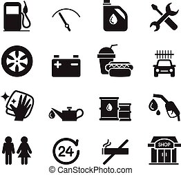 Gas station icon set