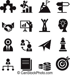 The way to success icons set